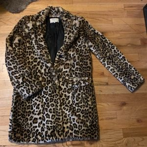 Zara faux fur leopard coat